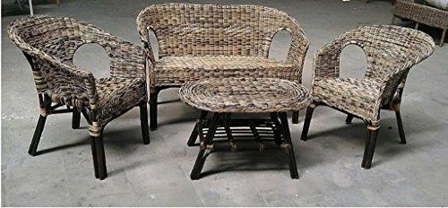 Okaffarefattomaddaloni completo salotto in bambu divano + 2 poltrone + tavolino bicolore kelec due colori