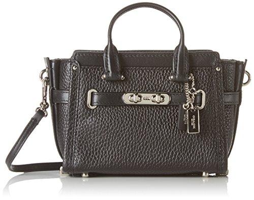 Coach Women's Swagger 15 Top-Handle Bag Black (Silver/ Black)