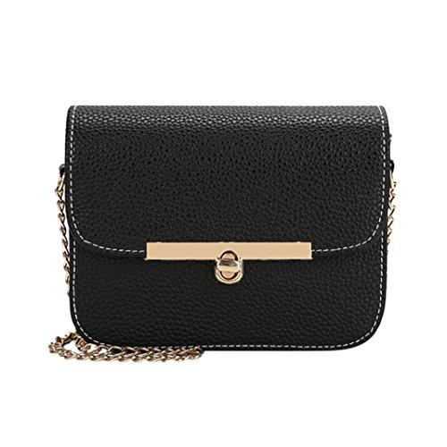 Amlaiworld Donna ragazze metallo catena borsa a tracolla pu pelle piccola borsetta (nero)