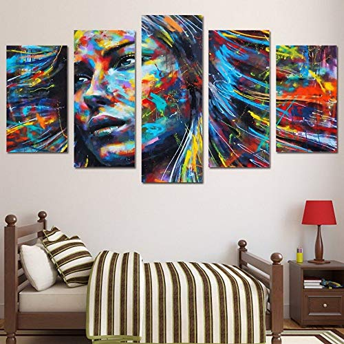 WSNDG Farbgesicht 5-in-1-Kombinationsset Malerei rahmenlose Leinwand Malerei ohne Bilderrahmen A 30x40cmx2 30x60cmx2 30x80cmx1