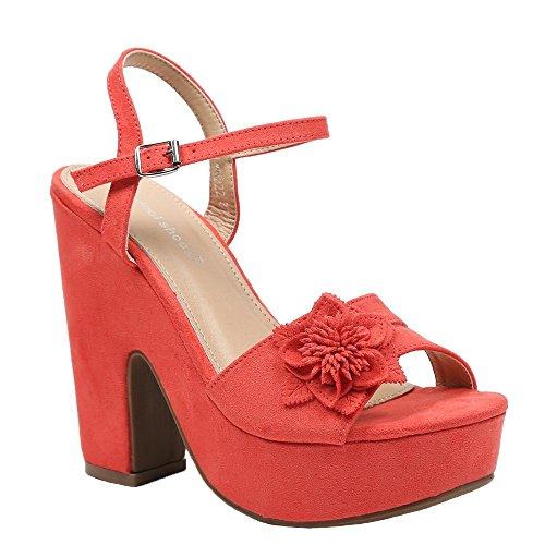 Ideal Shoes Sandales à Plateforme Effet Daim et Décorées DUne Fleur Tahys Rouge