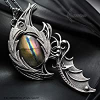 Wire wrapped necklace gift for woman men wire wrap labradorite gothic goth dragon eye wing pendant silver gift gothic necklace