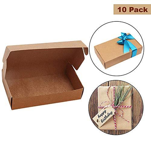 Kurtzy Braune Kraftpapier Geschenkboxen (10 Stück) - 19 x 11 x 4.5cm Kraft Falt Geschenkschachtel für DIY, Party, Hochzeit, Zuhause, Geschäfte - Favour Geschenkkartons für Kuchen, Kekse, Schmuck -