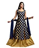 Hirva Collections Women's Jequard Silk Western Gown (NeavyBlue)