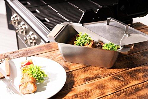 Dünstschale und Warmhaltebox CAZOO - Grillschale Grillbox mit Granitstein