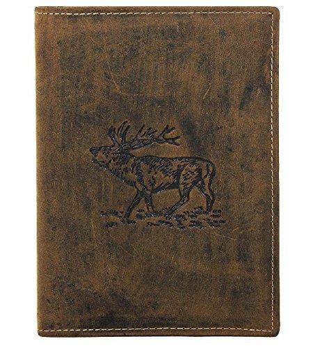 Jagdscheinetui aus Antikleder * Motiv Hirsch * + 2 GRATIS Glasuntersetzer mit jagdlichen Motiven