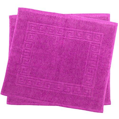 Julie Julsen 2er Pack 50 x 40 cm Badvorleger in Premium Qualität 900 gm2 in aktuellen Farben und 4 Größen aus Baumwolle Badematte Badteppich Duschvorleger Design Spirale Pink