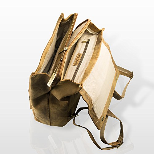 Marc Picard handgearbeitete sehr großer Hunter Lederrucksack / Laptop Rucksack bis 14 Zoll, für Damen und Herren, Schulrucksack Schultertasche für Outdoor Sports Uni Reise, Cityrucksack Tan