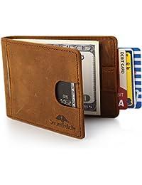Cartera de Piel para Hombre con Bloqueo RFID y Clip para Billetes. Cartera Plegable para Hombre.