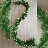 MACO Import Künstliche Girlande mit Beleuchtung 270x20 cm lang Tanne in grün mit 100 Glühlampen im Warmton zum Schmücken und Dekorieren beim Jubiläum, Geburtstag oder Hochzeitstag
