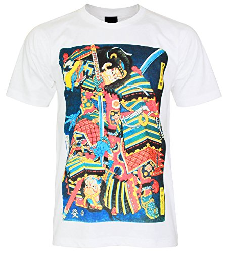 PALLAS Unisex's Japanese Warrior Samurai Traditional Art T-Shirt -PA408 (White , L) (Packer Zippo)