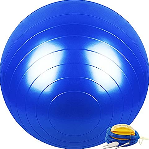 Pilates Massage Ball Stretch Yoga Fitness Balance Ball Explosionsgeschützte Profi Fitness Ball 65cm PVC Super Starke Lager Kraft 2000lbs für Gym / Home / Office und Training Tube in sechs Farben ( Color : Blue