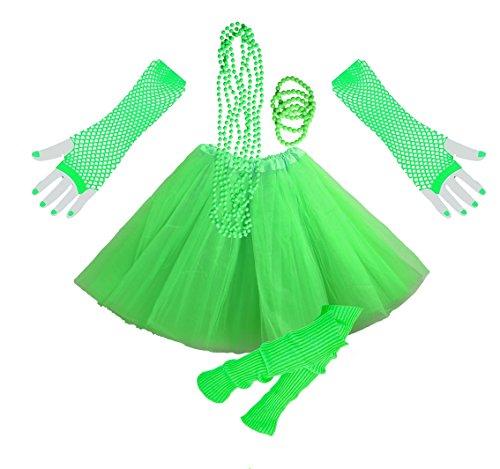 Jahre Motto Mädchen Kostüm 80 - InnoBase 1980s Fancy Dress Zubehör Neon Erwachsener Tutu Beinwärmer Fishnet Pink Handschuhe Mehrfarbig Perlenkette Perlen Halsketten Armbänder 80er Mädchen Frauen Night Out Party Kleid(A7)