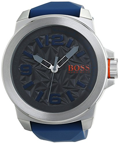 Hugo Boss 1513355 New York Montre-Bracelet pour Homme- Montre à Quartz- Affichage analogique- Bracelet en Silicone- avec Inscription Orange
