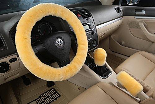 Preisvergleich Produktbild XinGe Winter Ein Set Pure Australian SheepSkin Wolle Komfortable Stretch Lenkradabdeckung 3Pcs (Rice Yellow)