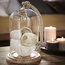 Tarro de cristal en forma de campana con base de madera y cuerda para decoración del