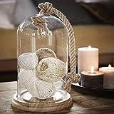 Cloche en verre avec corde et socle en bois - décoration pour maison et jardin, Bois...