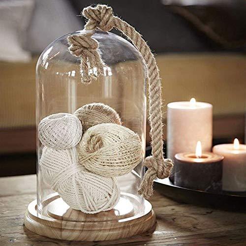 Tarro de cristal en forma de campana con base de madera y...