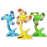 Japace® multifonctionnel Portable Mini Clip ventilateur pour bébé Poussette Lits de bébé Parc de bureaux dans la voiture à clipser avec câble USB en vert, bleu, jaune (couleur aléatoire)