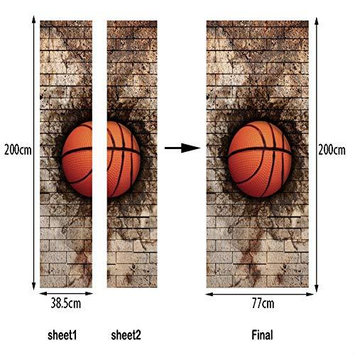 Tayohye Creative Basketball Dekoration verschönern Türaufkleber, Wasserdicht Feuchtigkeitsfest Schlafzimmer Wohnzimmer Türaufkleber