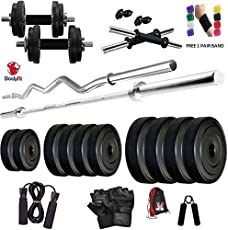 BodyFit BF-30KG Combo of 5ft Rod,3ft Rod,2 D.Rods Home Gym and Fitness Kit (4bigh30a)
