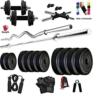 Bodyfit BF-30KG COMBO 5ft Rod,3ft Rod,2 D.Rods Home Gym and Fitness Kit.