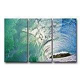 3Stück Wand Kunst Bild große Ocean Grün Transparent Blue Wave Bilder Prints auf Leinwand Landschaft der Decor Öl für Home Moderne Dekoration Print