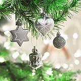 Victor's Workshop 50tlg. Weihnachtskugeln Weiss Silber Weihnachtsbaumschmuck Plastik Weihnachtsschmuck für Weihnachten Deko Anhänger MEHRWEGVERPACKUNG - 6