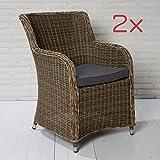 2x Gartensessel Polyrattan braun Sitzkissen Gartenstuhl Kunststoff Stuhl Sessel