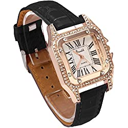 FACILLA® Lady Quartz Wristwatch Black PU Band Rose Gold Alloy Rhinestone Bezel White Dial