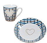 –Juego de Desayuno Jumbo Taza y Platos de Postre Susan Azul...