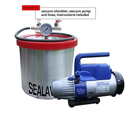 sealavac Vakuumkammer 9.55l, 2,5uns Gallonen, Aluminium, 3,8CFM Single Stage Pumpe (Acryl-kammer)