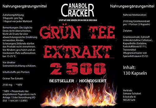 Grün Tee Extrakt, 130 Kapseln, Grüner Tee / Green Tea, 2500mg Hochdosiert / Tagesdosis – beste Diät / Fettverbrennung, Mahlzeitenersatz, Deutsche Premium Qualität