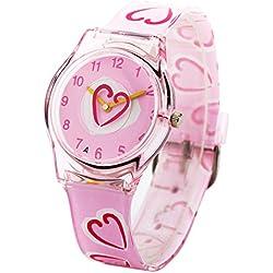Zeiger Kinderuhr Lernuhr Mädchen Uhren Herzform Kinder Uhr Rosa Silikon Armbanduhr KW008