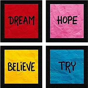 SAF Set of 4 Dream, Hope, Belive, Try Motivational UV Coated Home Decorative Gift Item Framed Alphabets Painting 19 inch X 19 inch SAF_SET4_35, Multicolour, Standard