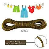 AllExtreme 20 meter PVC Coated Steel Anti-Rust Wire Rope Washing Line Clothesline with 2 Plastic Hooks(Mehandi)