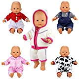 Miunana 5 PCS Fashion Clothes Dresses For 14 -16 Inch New Born Baby Dolls Newborn Dolls And Other 14 - 16 Inch Dolls (With VAT invoice