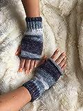 Grey Blue women's fingerless gloves hand warmers