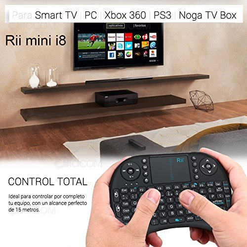 Rii Mini i8 Wireless (layout Español)   Mini teclado ergonómico con ratón touchpad para Smart TV  Mini PC Android  PlayStation  Xbox  HTPC  PC  Raspberry Pi (Rii mini i8 Nergo)