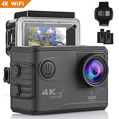 Modohe Caméra Sport 4K/1080P WiFi Ultra HD Caméra d'Action Etanche 30M, 170 °Grand-Angle, 2 pouces LCD, avec 2 Batterie et inclut des Kits Complets d'Accessoires