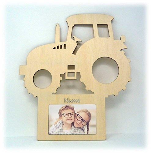 Gold-traktor (Traktor Auto Wand Tür-Schild Bilderrahmen Geschenke für das Baby-Zimmer Kinder-Zimmer mit Namen - Zum selbst bemalen geeignet)