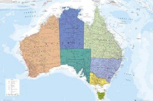 1art1 52989 Weltkarten - Australien Poster 91 x 61 cm - Karte Von Australien