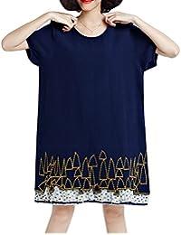 ELLAZHU Femme Été Large Convenable Grande Taille Sleeves Courtes Robe GA635 A