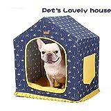 DLDL Rimovibile Pet Tenda Canvas, Pieghevole Caldo Cat House Dog Indoor Cave Yurt Giardino Case con Cuscino Regali di Natale per Cuccioli Cuccia Pet House per Gattini Bulldog Francese