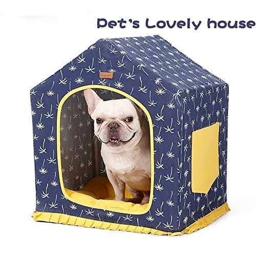 Haustier Zelt Canvas Nest abnehmbar und waschbar, Faltbare warme Katzenhaus Hund Indoor Cave Yurt...