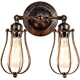 Vintage Wall Sconce Industrial 2-Light Antique Oil Rubbed Bronze Mini Wire Cage Wall Lamp