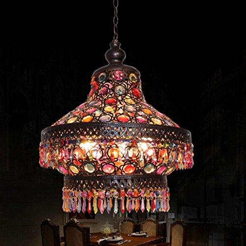 Retro Oendant Deckenleuchte - 3 Kopf E14 Lichtquelle Organische Glasperlen Monaco Eisen Kreative Celing Lampe für Esszimmer Kaffee Bar