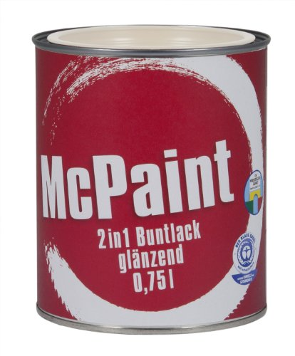 McPaint 2in1 Buntlack Grundierung und Lack in einem für Innen und Außen. PU verstärkt - speziell für Möbel und Kinderspielzeug glänzend Weiß 0,75 Liter - Bastellack- Andere Farben verfügbar