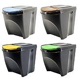 Sortibox Lealight Caja Juego de 4Cubo de Basura Cubo de Basura de Cocina (80L 4x 20L) Papelera Contenedor de Basura (coleccionistas Orgánica baño Cubo, Antracita, 39,2...