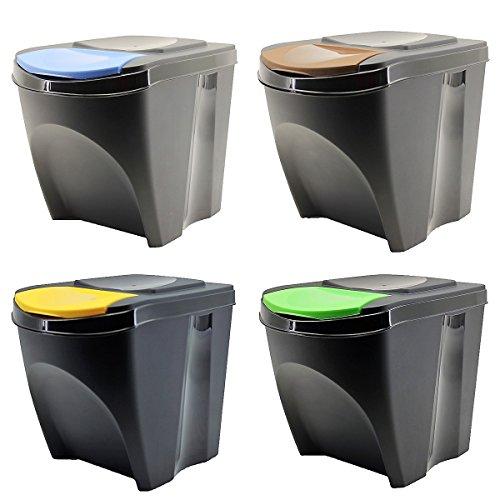 Sortibox Lealight Caja Juego de 4Cubo de Basura Cubo de Basura de Cocina 80L 4x 20L Papelera...
